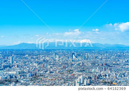도시 풍경 선샤인 시티 60 전망대에서 본 관동 평야 【도쿄】 64182369