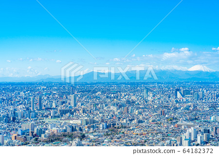 도시 풍경 선샤인 시티 60 전망대에서 본 관동 평야 【도쿄】 64182372