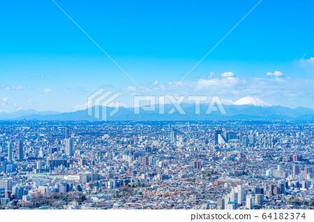 도시 풍경 선샤인 시티 60 전망대에서 본 관동 평야 【도쿄】 64182374
