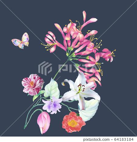 色彩豐富的花卉素材組合和設計元素 64183184