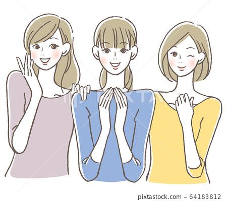 Three smiling women 64183812