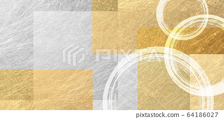 毛筆圈和金色日本紙背景材料(抽象) 64186027