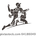 Group of Baseball players action cartoon sport graphic vector. 64186049