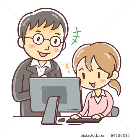 一个女人向男人教计算机(老板和下属/ PC教室) 64186856