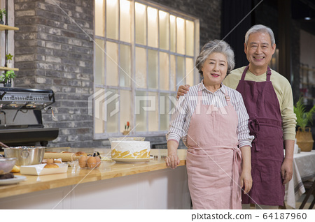 Happy senior life concept. Healthy activities in daily life of senior couple 283 64187960
