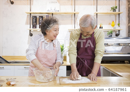 Happy senior life concept. Healthy activities in daily life of senior couple 262 64187961
