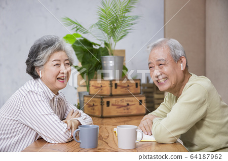 Happy senior life concept. Healthy activities in daily life of senior couple 307 64187962