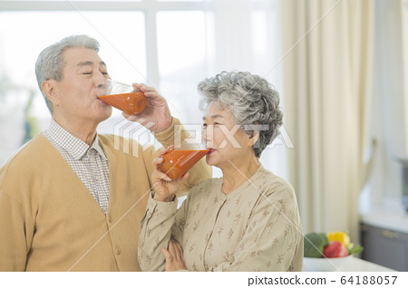 Happy senior life concept. Healthy activities in daily life of senior couple 199 64188057