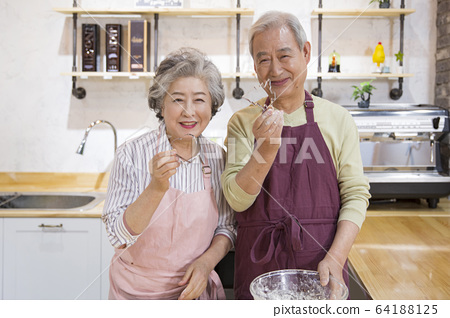 Happy senior life concept. Healthy activities in daily life of senior couple 269 64188125