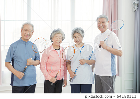 Happy senior life concept. Healthy activities in daily life of senior couple 078 64188313