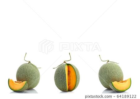 Cantaloupe melon on white background 64189122