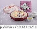 the Korean traditional wrapping cloth, refreshments and greeting card 066 64189210