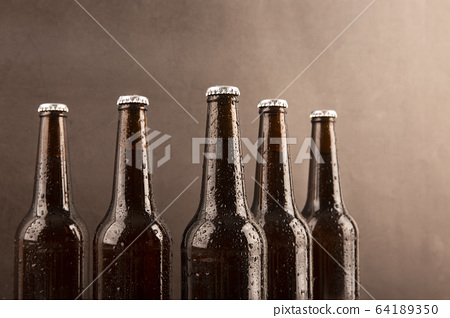 Close up of different glasses and bottles. drinking culture concept photo 009 64189350