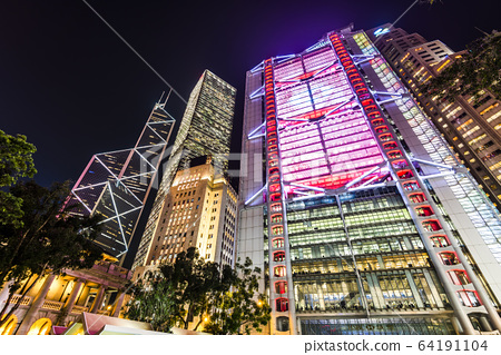 low angle view of modern office block buildings in Central, Hong Kong. 64191104