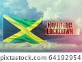 Coronavirus outbreak and coronaviruses influenza lockdown concept with flag of Jamaica. Pandemic 3D illustration. 64192954