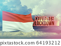 Coronavirus outbreak and coronaviruses influenza lockdown concept with flag of Indonesia. Pandemic 3D illustration. 64193212
