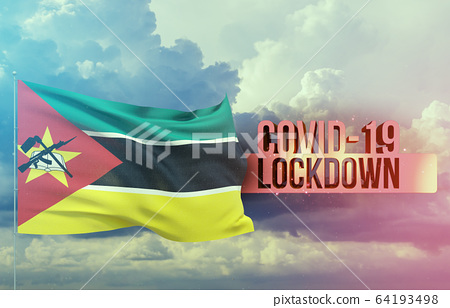 Coronavirus outbreak and coronaviruses influenza lockdown concept with flag of Mozambique. Pandemic 3D illustration. 64193498