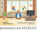 Banner Illustration Stay Calm and Love Quarantine 64195151
