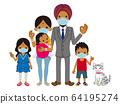 戴着口罩的家庭外国人印度人全身 64195274