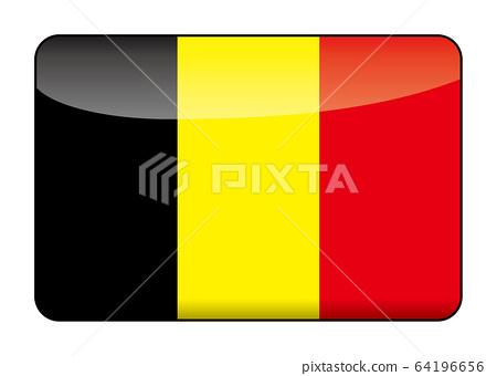 設計精美的比利時國旗的插圖 半薄且有光澤的國旗圖標橫幅 64196656