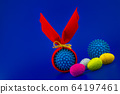 Virus models wrapped as gifts and Easter eggs 64197461