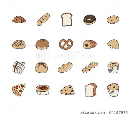手繪麵包插圖集/可愛/簡單/線條 64197976