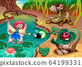 Fairy and gnomes playing in the nature with 64199331