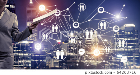Concept of modern business networking that connect and cooperate 64203716