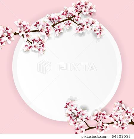 cherry blossom on round paper 64205055