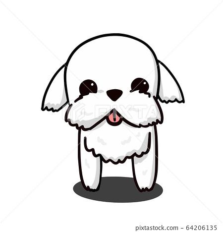 Cute Maltese White Puppy Cartoon Vector, for 64206135