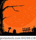 Halloween cartoon background, tree with pumpkin, 64206138