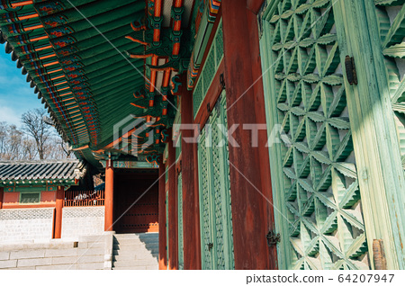 Gyeonghuigung Palace traditional architecture in Seoul, Korea 64207947