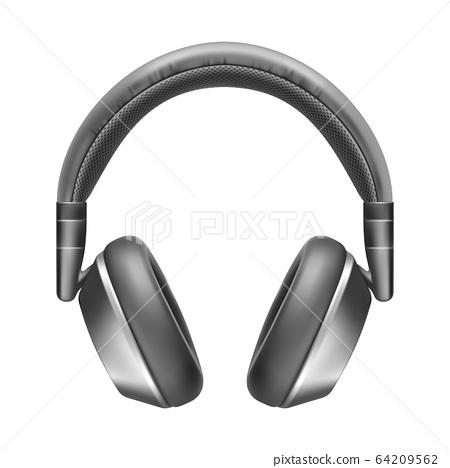 Realistic vector headphones, wireless sound appliance, music 64209562