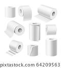 Realistic toilet paper rolls, kitchen paper towels 64209563