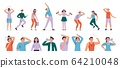 Sweating people. Sweaty man with wet underarms, gymnastically tired girl and unpleasant underarm smell vector set 64210048