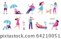 People cooling in hot weather. Rest from hot summer weather, eat ice cream and cool under fan. Siesta, air conditioning vector illustration set 64210051