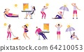 People suffer from heat. Sunstroke, summer hot weather and overheating. Sweaty people overheated in sun vector illustration set 64210053