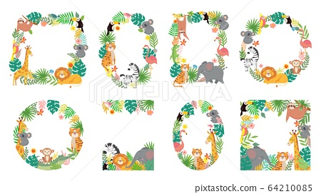 Cartoon animals frame. Jungle animal in tropical leaves, cute frames with tiger, lion, giraffe and elephant vector illustration set 64210085