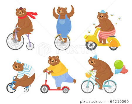 Cartoon biked bear. Bears on children tricycle, unicycle and retro bicycle. Animal riding bike, bicycles and scooter vector illustration set 64210090