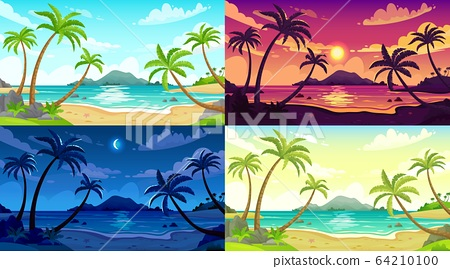 Daytime beach landscape. Sunny day seascape, night ocean and sunset beach cartoon vector illustration set 64210100