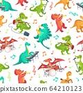 Seamless cartoon music dinosaurs pattern. Dino band, cute dinosaur playing music instruments and rockstar tyrannosaurus vector illustration 64210123