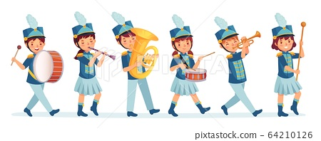Cartoon kids marching band parade. Child musicians on march, childrens loud playing music instruments cartoon vector illustration 64210126