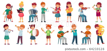 Children orchestra play music. Child playing ukulele guitar, girl sing song and play drum. Kids musicians with music instruments vector illustration set 64210128