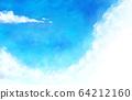 插画素材蓝天天空云朵水彩背景背景素材 64212160