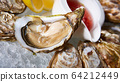 Fresh oysters on ice with lemon close up. Shallow dof. 64212449