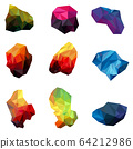 Collection of colorful abstract polygonal isolated on white background. Polygon logo. 64212986