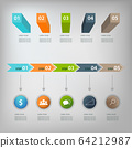Business infographics with different diagram on grey background. Infographics design. 64212987