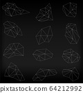 Abstract modern polygonal on black background. Polygonal triangles. 64212992