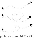 Airplane line path collection isolated on a white background. Heart airplane line path. 64212993