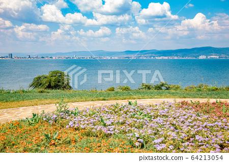 Black sea and seaside park in Nessebar, Bulgaria 64213054